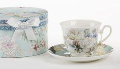 Gift Boxed Tea Cup (Teacup) & Saucer - Blue Camellia