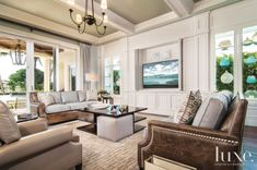 Neutral Transitional Family Room with Display Windows