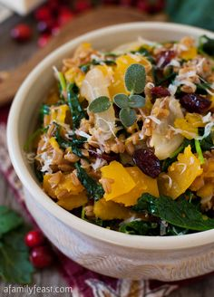 Farro with Butternut Squash and Baby Kale | www.afamilyfeast.com | #vegetables #fall Wonderful fall flavors in a hearty and healthy dish!