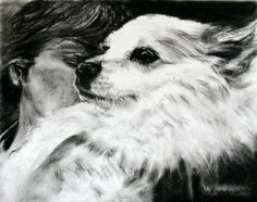 Me and Nookie. Charcoal portrait of my Spitz Nookie, taken by my husband Walter the day before she died. <3