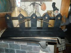 PRIMITIVE COUNTRY RUSTIC FENCE SHELF~~TWIGS~~STARS~~HOME DECOR~~WALL DCOR~~