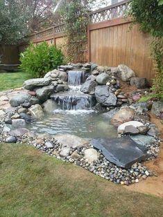 Garden Pond Design, Landscape Design, Ponds Backyard, Backyard Patio, Backyard Ideas, Backyard Waterfalls, Patio Ideas, Back Yard Pond Ideas, Ponds With Waterfalls