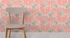 fine decor wallpaper MIAMI peach coral with palm trees 8 rolls same batch pink