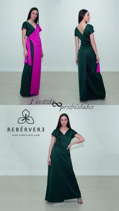 Dos medios vestidos reversibles. Puedes ponerte ambas mitades de un lado (las dos de color fucsia), del otro lado (de color verde) o combinarlas. #vestidosfiesta #vestidosgraduacion #vestidoamedida #vestidoreveresible #vestidomultiposicion #vestidowrap #vestidokimono #mediosvestidos #rebérvere #rebervere #reberverizate #style #stylish #slowfashion #ootd #fashion #fashiondiaries #fashionlover #invitadaperfecta #invitadaideal  #madeinspain #hechoenespaña #diseñadoresespañoles #reveresible Multi Way Dress, Kimono, Formal Dresses, Color, Fashion, Party Dresses, Hot Pink, Green, Events