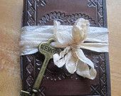 Steampunk Wedding Favors 4 Bridesmaid Gifts Small Brown Leather Journal/Notebook with Vintage Styled Key Set of Four Journals for Gifts. $75.00, via Etsy.