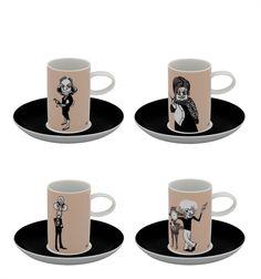 A Viagem - Set 4 Coffee Cups & Saucers Writers