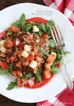 Naked Turkey Bruschetta Burger | Skinnytaste, mmmm this is going to be Friday night dinner!