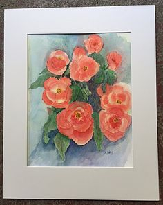 Begonias Outside the Studio, Watercolor 11 x 14, in white mat.  $100. + shipping Begonia, The Outsiders, Paintings, Watercolor, Studio, Art, Pen And Wash, Art Background, Watercolor Painting