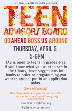 Get ready for the Teen Advisory Board (TAB)! | Three Rivers Library Teen Space