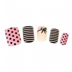 Parisian style comes to your manicure with these pretty faux nails. Includes pink with black polka dots, black and white stripes plus French manicure with black bow designs Black French Manicure, Black Nails, Nailart, Makeup Brush Storage, Gold Hair Accessories, Nail Polish, Nail Nail, Eyelash Sets, New Nail Designs