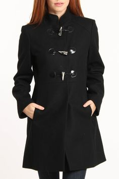 Via Spiga Textured Wool Coat In Black - Beyond the Rack