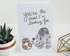 Items similar to One Blank Valentine's Day Card // Star Wars Valentines Card // Star Wars Valentine Card // Valentine Star Wars on Etsy Starwars Valentines Cards, Funny Valentines Gifts, Valentines Gifts For Boyfriend, Regalos Star Wars, Diy Birthday, Card Birthday, Digital Birthday Cards, Star Wars Bb8, Funny Boyfriend Gifts