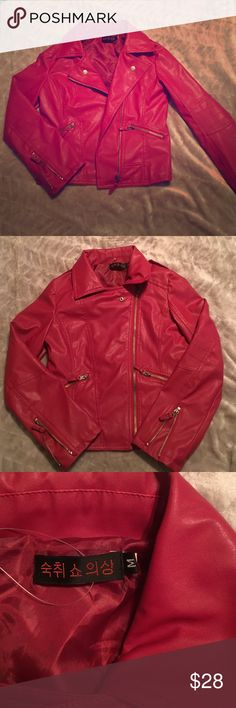 Vegan leather jacket (red) Bought this on here from a very sweet seller, I LOVE it but unfortunately, it is a bit too small for me. The tag says medium but it fits like a small or XS so I'm going to mark it as small. Blood red Moto vegan leather jacket. Full zip with zippers at ends of sleeves as well. Jackets & Coats