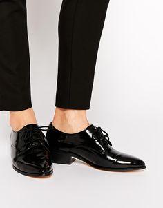 Image 1 ofDune Loris Black Brogue Flat Shoes
