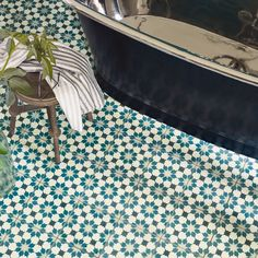 Give your bathroom an update with beautiful tiles green and blue toned patterned tile floor with black freestanding bath Best Bathroom Flooring, Bathroom Floor Tiles, Wall And Floor Tiles, Loft Bathroom, Downstairs Bathroom, Craftsman Bathroom, Rental Bathroom, Bathroom Furniture, Floor Patterns