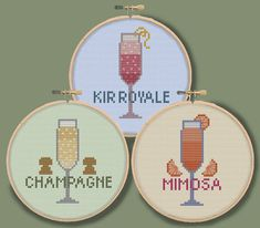 CHAMPAGNE COCKTAILS - Mini drink ornaments coasters - Modern Counted Cross Stitch Pattern - pdf instant download