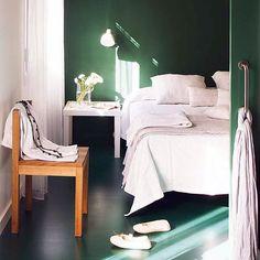 Dark Green Wall Color #bedroom