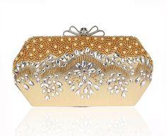 Bow Metal Diamonds Women Evening Bags Beaded Handmade Small Purse Clutches Handbags For Wedding  Party Dinner Evening Bags