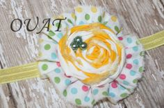 Yellow and Pastel Rosette Headband by OnceUponATimeAR on Etsy, $7.95