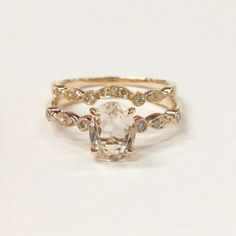 Oval Morganite Engagement Ring Sets Pave Diamond Wedding 14K Rose Gold 6x8mm Art Deco