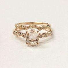Oval Morganite Engagement Ring Sets Pave Diamond Wedding 14K Rose Gold 6x8mm Art Deco