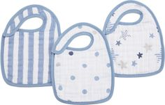 Aden & Anais, Inc. rock star classic snap bibs for baby - blue polka dots, striped, and stars, perfect  for baby boy