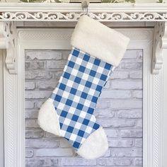 Blue Buffalo Plaid Christmas Stocking - No Thanks