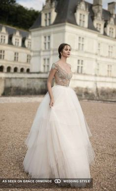 alon livne white wedding gown with tulle skirt and embellished bodice