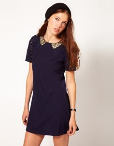 Enlarge Dahlia Shift Dress With Sequin Collar And Cutwork Detail