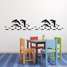 Babies wall decals for your interior decoration! These funny dolphins #wall decals can give you decorating ideas for the nursery . #decals #stickers #wall