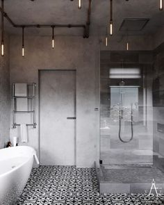 Badezimmer Badewanne Betonwand Muster Fliesen Lampen Industriedesign - Comparto mis ideas creativas y originales. Lampe Industrial, Vintage Industrial Decor, Industrial Living, Industrial Loft, Kitchen Industrial, Vintage Lighting, Industrial Apartment, Vintage Decor, Industrial Workspace
