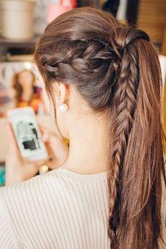 Lleva diferente la tradicional cola de caballo #Ponytail #Braids #trenza #Peinado