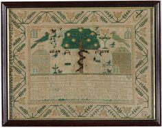 Adam and Eve Sampler, Cordelia Latham Bennet, New York, 1806-1808