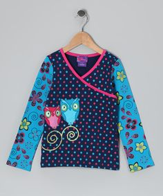 Take a look at this Pink & Navy Owl Polka Dot Surplice Top - Toddler & Girls by CR Cute, CRugged & Mini Bamba on #zulily today!
