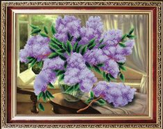 lila-stickmuster-perlenstickset-modern-handstickset-blumenstickmuster-nadelspitzenset-perlenkreuzstichset/ - The world's most private search engine Hand Embroidery Kits, Flower Embroidery Designs, Modern Embroidery, Beaded Embroidery, Beaded Cross Stitch, Modern Cross Stitch, Cross Stitch Kits, Cross Stitch Patterns, Needlepoint Kits