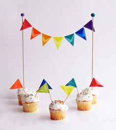 Cake Topper, Cake Bunting - for Wedding Cake, Birthday Party, Mini Bunting - Handmade with Rainbow Color Kite Paper and Wool Felt Set, $18.00