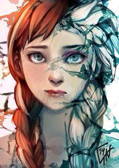 Anna/Elsa Half~ Frozen by SoraTheKeybearer1.deviantart.com on @deviantART