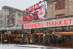 Seattle's Pike Place Market in a Rare Snowstorm by Lee Rentz, via Flickr