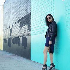 Michelle (@runwayonthego) Biker with shift dress #ootd #lotd #wiw #fashionblogger