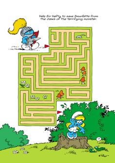 activitysheets_summer_2012_009 Mazes For Kids, Crafts For Kids, Party Activities, Preschool Activities, Spot The Difference Kids, Maze Drawing, Smurf Village, Hidden Pictures, Easy Christmas Crafts