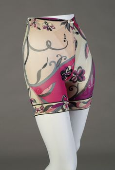 Girdle. American Manufacture, Italian design, 1960s. Nylon and lycra printed in pinks, purple, gray and black with attached garters. Label: Created by Emilio Pucci for Formfit Rogers. Gift of Mrs. Savanna M. Clark, KSUM 1999.36.8