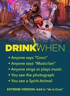 Coco Drinking Game – Drink When Coco Drinking Game – Drink When,Alkohol Feel the music in your soul with this Coco Drinking Game. Drink When Anyone sings or plays music, You see. Outdoor Drinking Games, Drinking Games For Parties, Mean Girls Drinking Game, Adult Games, Games For Girls, Abc Games, Drunk Games, Game Development Company, Two Player Games