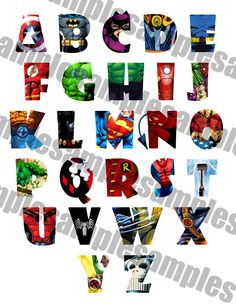 SUPERHERO Alphabet Clipart Printable, Font, Alphabet Letters - Spiderman, Superman, Batman, Captian America, lots more by Onesweetwirl on Etsy https://www.etsy.com/listing/241683492/superhero-alphabet-clipart-printable