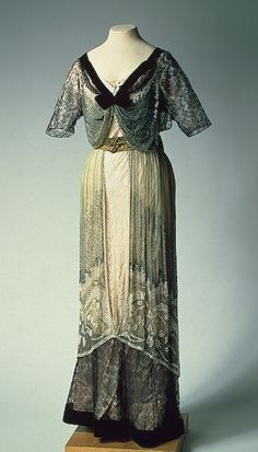Evening Dress  St Petersburg  Russia. 1910  Chiffon, lace, satin, velvet, galloon, glass beads and bugles; embroidered.   The Hermitage Museum