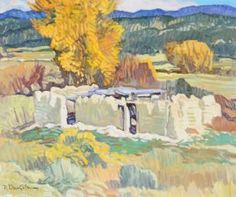 """ROBERT DAUGHTERS (American b. 1929) A PAINTING, """"Adobe Ruins,"""" oil on canvas. signed L/L. 20"""" x 24"""" Framed. Purchased from the Gallery at Shoal Creek, Austin, TX, 1993. Estimate: $4,000.00 - $6,000.00"""