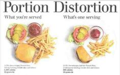 portion distortion. Fitness is 80% diet, and most people blow it with both amounts and wrong choices