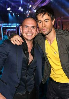 #Pitbull and #EnriqueIglesias pose backstage during the 14th Annual Latin Grammy Awards held at the #MandalayBay Events Center on November 21, 2013 in Las Vegas