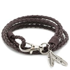 Check out our Brown Braided Bracelet with Feathers Pendant!