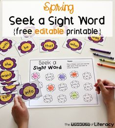 Practice sight words in literacy centers this spring with this EDITABLE spring sight word game! Type in any 15 words and it auto-populates! Perfect for Kindergarten and 1st grade literacy centers. #sightwords #kindergarten #teachersfollowteachers #iteachk