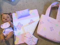 "Handcrafted 13"" Baby Alive Diaper Set 2 Diapers Bib Blanket Pillow Bag Pinks | eBay"